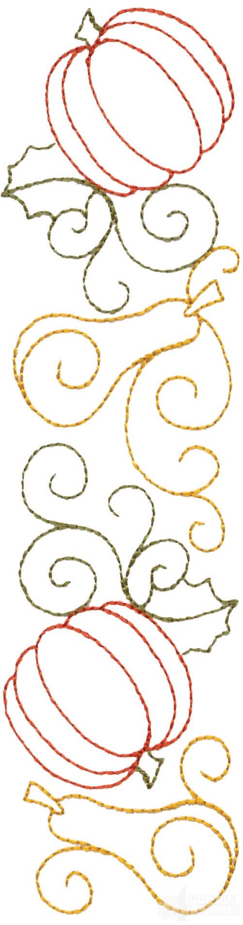 Line Art Embroidery : Pumpkin and squash line embroidery design