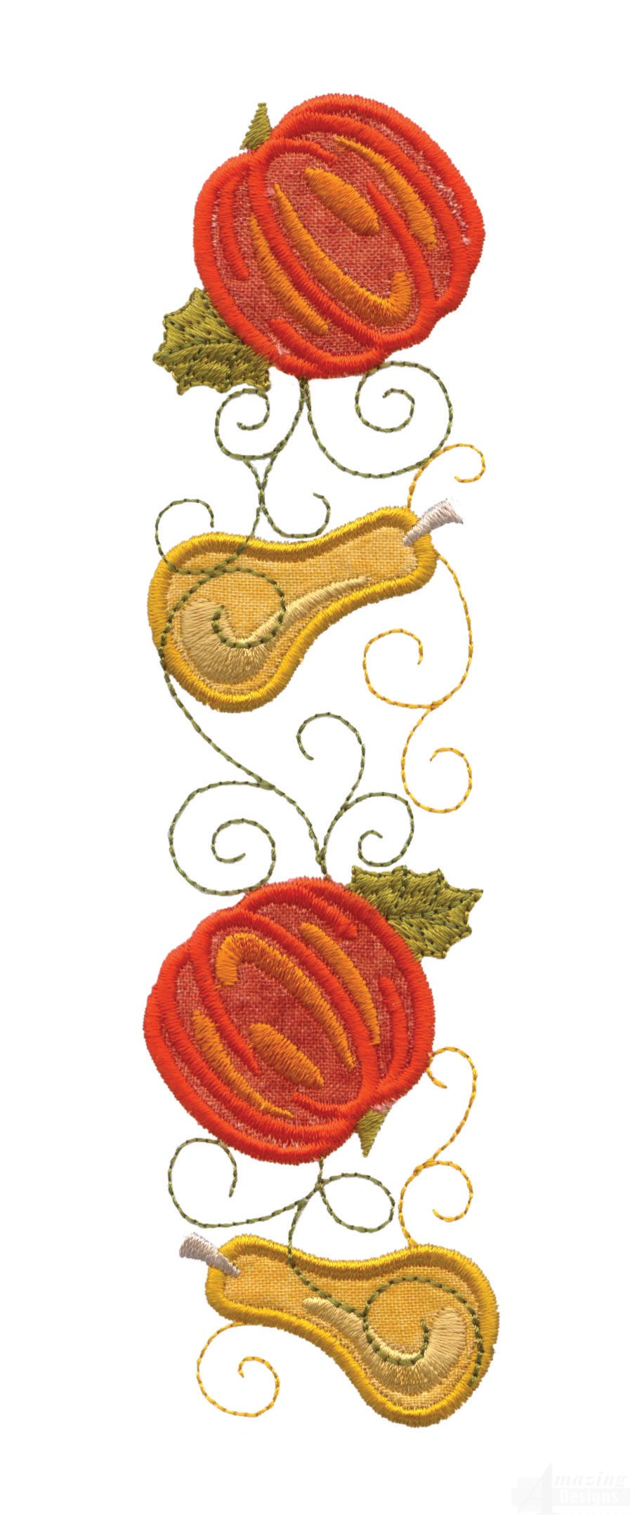 Pumpkin and squash applique embroidery design