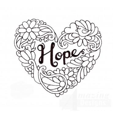 Hope Heartfelt Doodle Embroidery Design