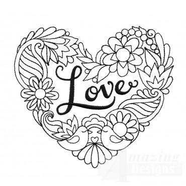 Love Heartfelt Doodle Embroidery Design