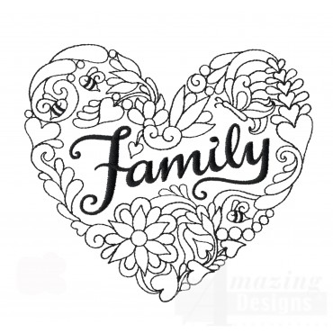 Family Heartfelt Doodle Embroidery Design