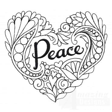 Peace Heartfelt Doodle Embroidery Design
