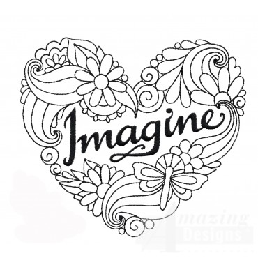 Imagine Heartfelt Doodle Embroidery Design