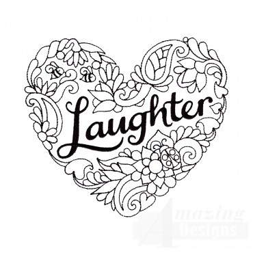 Laughter Heartfelt Doodle Embroidery Design