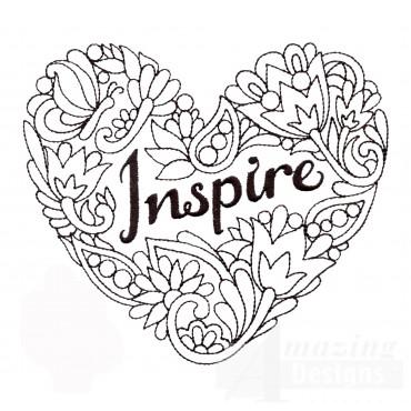 Inspire Heartfelt Doodle Embroidery Design