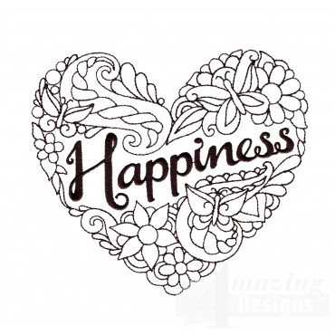 Happiness Heartfelt Doodle Embroidery Design