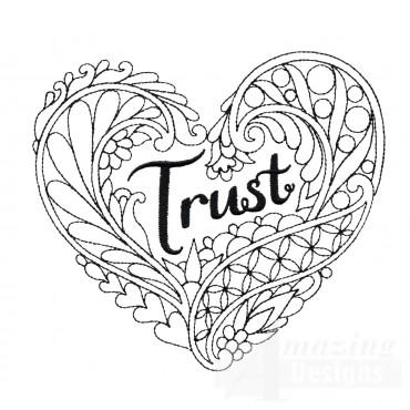 Trust Heartfelt Doodle Embroidery Design