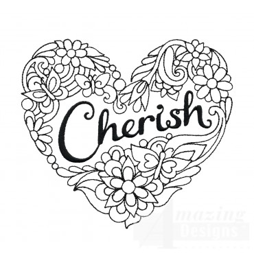 Cherish Heartfelt Doodle Embroidery Design
