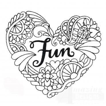 Fun Heartfelt Doodle Embroidery Design