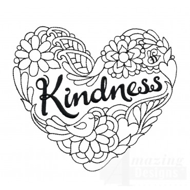 Kindness Heartfelt Doodle Embroidery Design