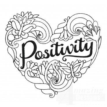 Positivity Heartfelt Doodle Embroidery Design