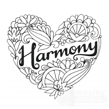 Harmony Heartfelt Doodle Embroidery Design