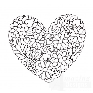 Flower Heartfelt Doodle Embroidery Design