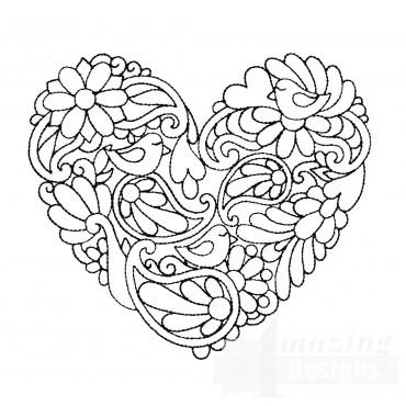 Paisley Heartfelt Doodle Embroidery Design