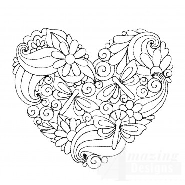 Dragonfly Heartfelt Doodle Embroidery Design