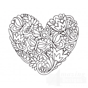 Butterfly Heartfelt Doodle Embroidery Design