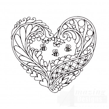 Honey Bee Heartfelt Doodle Embroidery Design