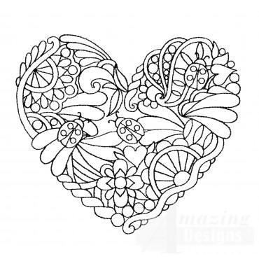 Lady Bug Heartfelt Doodle Embroidery Design