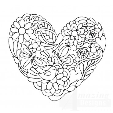 Bird And Bugs Heartfelt Doodle Embroidery Design