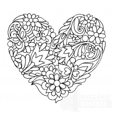 Cluster Heartfelt Doodle Embroidery Design