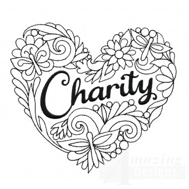 Charity Heartfelt Doodle Embroidery Design