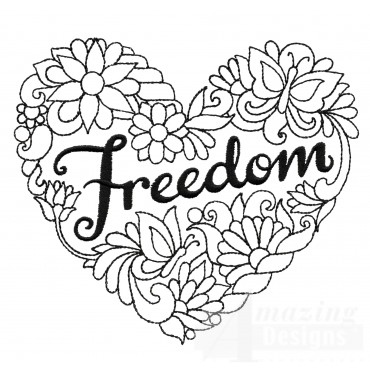 Freedom Heartfelt Doodle Embroidery Design