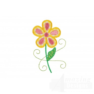 Flower 2 Happy Day Applique Embroidery Design