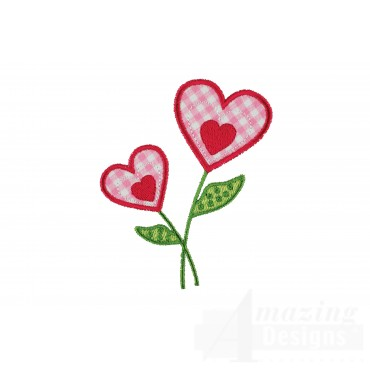Heart Flower Happy Day Applique Embroidery Design