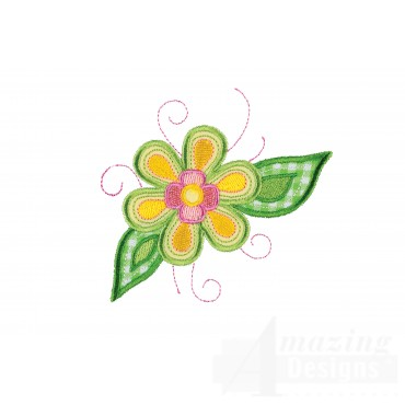 Flower 3 Happy Day Applique Embroidery Design