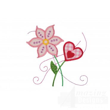 Flowers Happy Day Applique Embroidery Design