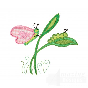 Caterpillar And Butterfly Embroidery Design