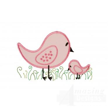 Birds Happy Day Applique Embroidery Design