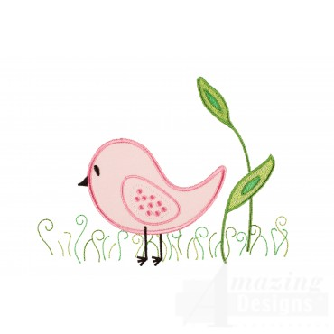 Bird In Grass Happy Day Applique Embroidery Design