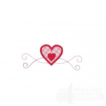 Decorative Heart Applique Embroidery Design