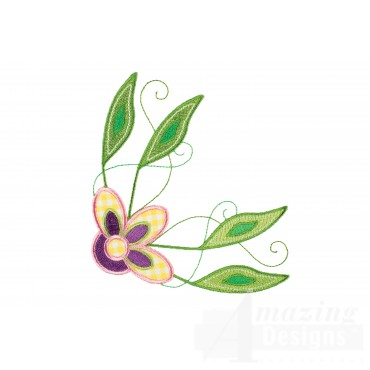 Decorative Flower And Leaves Embroidery Design