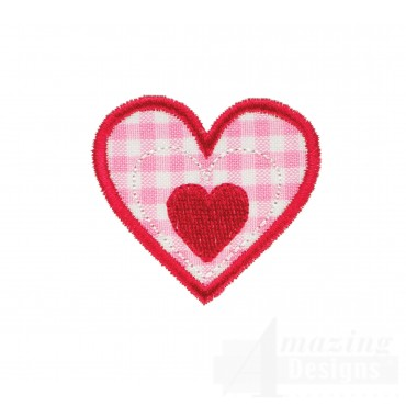 Single Heart Happy Day Applique Embroidery Design