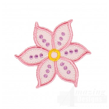 Single Flower Happy Day Applique Embroidery Design
