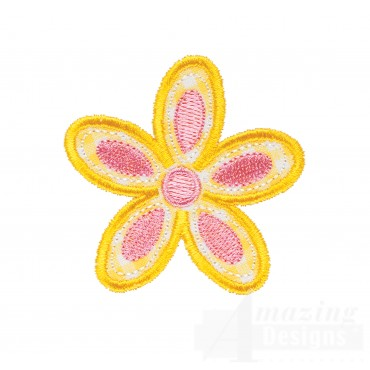 Yellow Flower Happy Day Applique Embroidery Design
