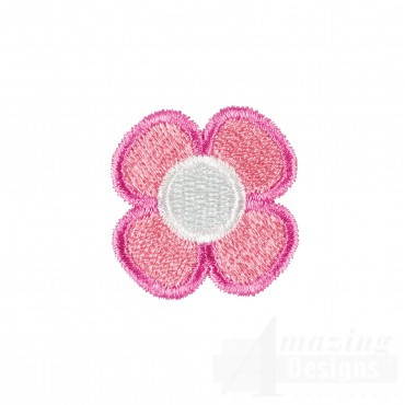 Pink Flower Happy Day Applique Embroidery Design