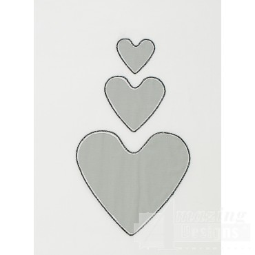 Stacked Hearts Reverse Applique Embroidery Design