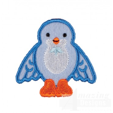 Blue Bird In-the-hoop Keychain Embroidery Design