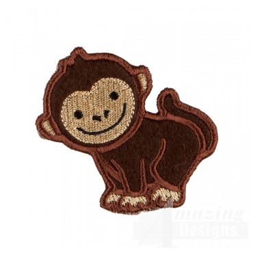 Monkey In-the-hoop Keychain Embroidery Design