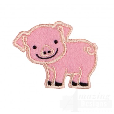 Pig In-the-hoop Keychain Embroidery Design