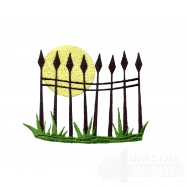 Moon Over Fence Grave Situation Embroidery Design