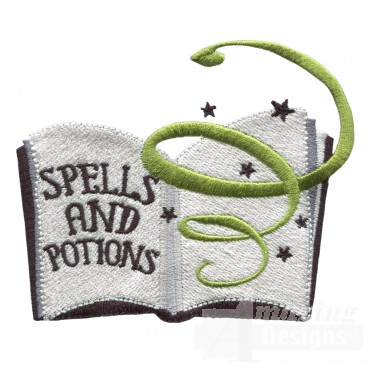 Spell Book Grave Situation Embroidery Design