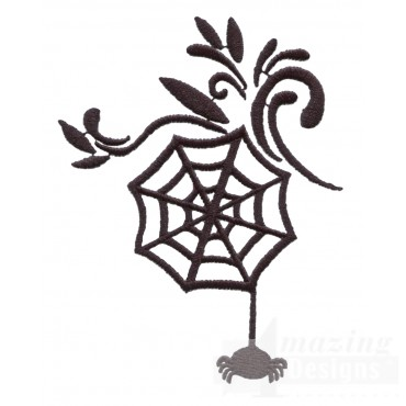 Spider Web Grave Situation Embroidery Design