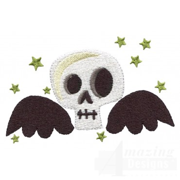 Flying Skull Grave Situation Embroidery Design