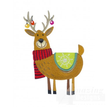 Reindeer 2 A Merry Christmas Embroidery Design