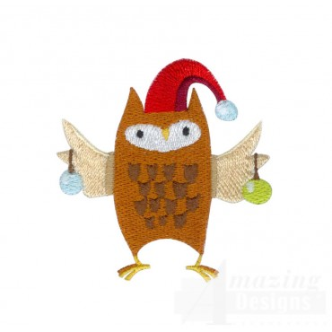 Owl A Very Merry Christmas Embroidery Design