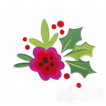 Flower And Holly Merry Christmas Embroidery Design